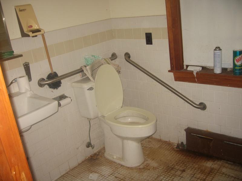 modern bathroom in the one room schoolhouse